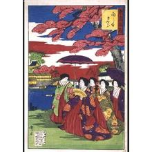 豊原周延: Famous Views of Tokyo: Cherry Blossoms in Mukojima - 江戸東京博物館