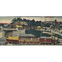 Utagawa Kuniteru: The Takanawa Steam Railway, Tokyo - Edo Tokyo Museum