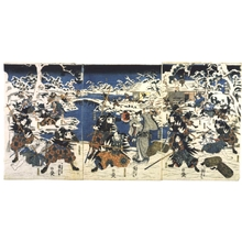 Utagawa Kuniyoshi: Chushingura: The Attack, at the Pond in Moronao�fs Garden - Edo Tokyo Museum