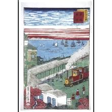 Utagawa Fusatane: Famous Modern Views of Tokyo: The Railway at shinbashi - Edo Tokyo Museum