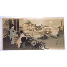 Ogata Gekko: Famous Views of Flowers and Beautiful Women: The Bush clover at the Ryuganji Temple in Kameido - Edo Tokyo Museum