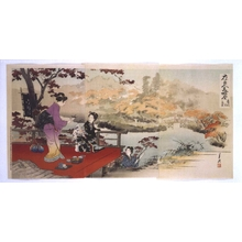 尾形月耕: Famous Views of Flowers and Beautiful Women: Autumn Foliage Along the Takino River - 江戸東京博物館