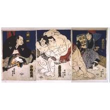 Utagawa Kunisada: Sumo: Koyanagi Wrestles Takaneyama - Edo Tokyo Museum