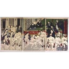 歌川国明: Takasago Stable Members at Practice - 江戸東京博物館