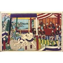 Utagawa Kuniaki: Sumo: The Emperor Watches a Match - Edo Tokyo Museum