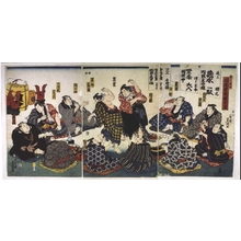 Utagawa Kunisada: Sekitori-rank Sumo Wrestlers Partying - Edo Tokyo Museum