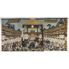 Utagawa Kunitsuna: Sumo Tournament: Entering the Ring - Edo Tokyo Museum