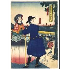 Utagawa Sadahide: Famous Sights and Strangers in the Eastern Capital: French Persons at the Kanda Myojin Shrine - Edo Tokyo Museum