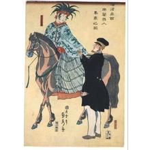Utagawa Sadahide: Merchants of Yokohama: A French Woman on Horseback - Edo Tokyo Museum