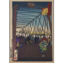 Kobayashi Kiyochika: A Hundred Views of Musashi: Teppozu Bridge and a Distant view of Tsukudajima - Edo Tokyo Museum