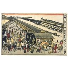 REKISENTEI Eiri: Perspective print: The Fish Market at Odawara-cho in Edo Nihonbashi - 江戸東京博物館