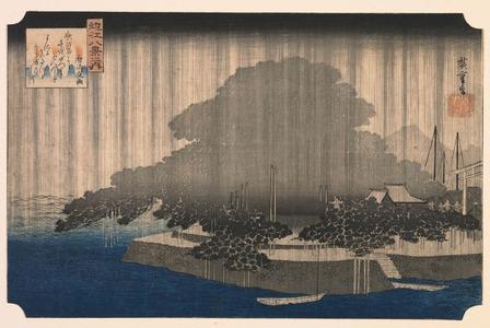 歌川広重: Night Rain on the Karasaki Pine (Karasaki no yau), from the series Eight Views of ?mi Province (?mi hakkei) - Legion of Honor