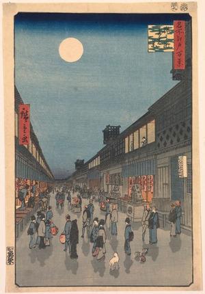 Utagawa Hiroshige: Night View of Saruwaka Street (Saruwakach? yoru no kei), no. 90 from the series One Hundred Views of Famous Places in Edo (Meisho Edo hyakkei) - Legion of Honor