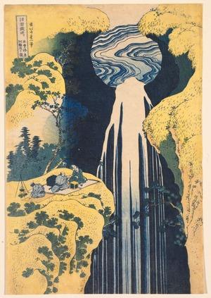 葛飾北斎: The Amida Waterfall in the Depths of the Kiso Mountains, from the series A Tour of Waterfalls in the Provinces - Legion of Honor