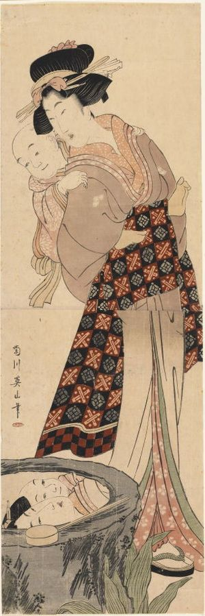 Kikugawa Eizan: Mother Carrying Her Baby Son on Her Back by a Cistern - Legion of Honor
