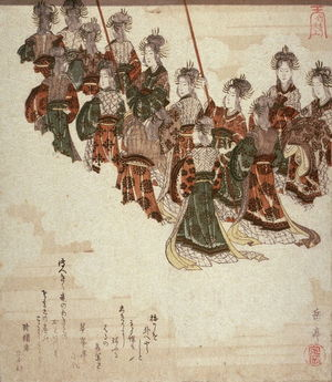 Yashima Gakutei: Angels Holding Banners, lower left sheet of four illustrating The Ascent to Heaven from the Bamboo Cutter'sTale (Taketari amaagari) - Legion of Honor