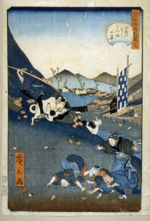 Utagawa Hirokage: Yoshitomi Slope at Koishikawa, no. 38 in the series Comic Incidents at Famous Places in Edo (Edo meisho dogi zukushi) - Legion of Honor