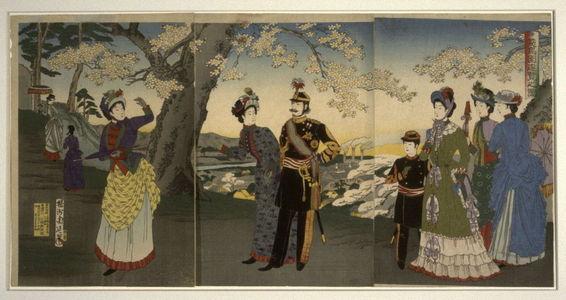 豊原周延: Imperial Party Visists the Park at Asukayama - Legion of Honor