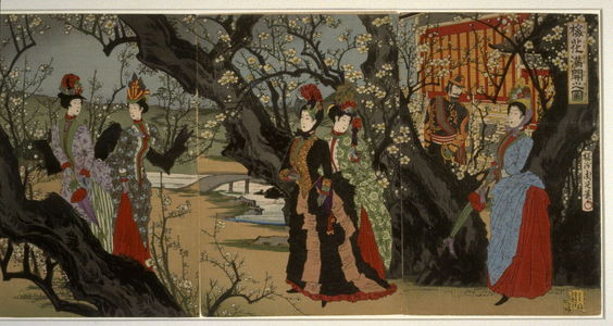 Toyohara Chikanobu: Plum Trees in Full Bloom, the Meji Emperor, Empress and Women of the Nobility - Legion of Honor