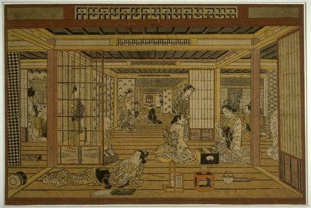 鳥居清忠: A Tea House in the Yoshiwara, with a Game of Backgammon - Legion of Honor