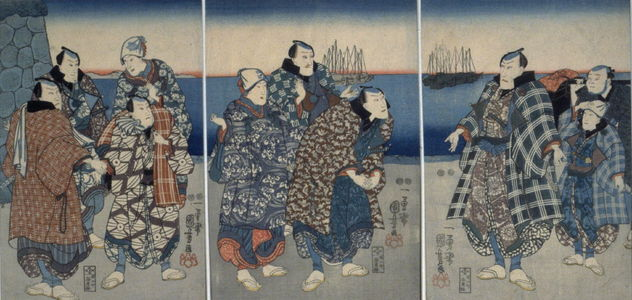 Utagawa Kuniyoshi: Untitled [a gathering of people on the shore] - Legion of Honor