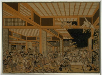 歌川豊春: Night Attack on Kira's Mansion by the 47 Ronin (Chushingura, Act XI) - Legion of Honor