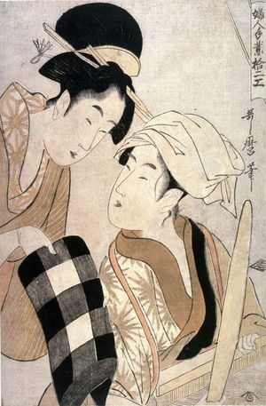 Kitagawa Utamaro: Woman Showing a Bolt of Checked Cloth to a Weaver from the series, Twelve Women's Handicrafts(Fujin towara juniko) - Legion of Honor