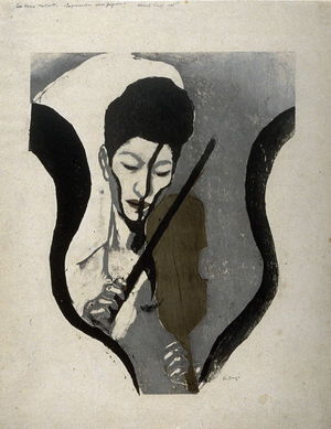 Onchi Koshiro: Impression of a Violinist (The woman violinist Negiko Suwa) - Legion of Honor