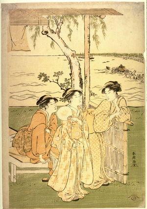 勝川春潮: Three Women at a Teahouse near Takanawa, panel of a polyptych illustrating a summer festival - Legion of Honor