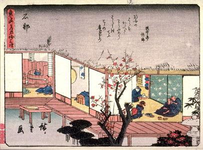 Utagawa Hiroshige: Ishibe, no. 52 from a series of Fifty-three Stations of the Tokaido (Tokaido gojusantsugi) - Legion of Honor