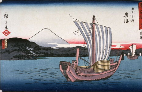 Utagawa Hiroshige: Kiyomigaseki and Seikon Temple near Okitsu (Okitsu kiyomigaseki seigenji), no. 18 from the series Fifty-three Stations of the Tokaido (Tokaido gojusantsugi) - Legion of Honor