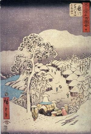 歌川広重: Yamanaka Village near Fujikawa (Fujikawa yamanaka no sato yori [??] yama), no. 38 from the series Famous Places near the Fifty-three Stations of the Tokaido (Gojusantsugi meisho zue) - Legion of Honor