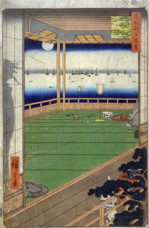 歌川広重: The Moon Promontory (Tsuki no Misaki), no. 82 from the series One Hundred Views of Famous Places in Edo (Meisho Edo hyakkei) - Legion of Honor
