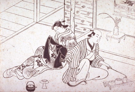 Hasegawa Mitsunobu: Couple Seated beside Alcove with Arrangement of Iris Flowers, from an untitled series of scenes from daily life - Legion of Honor