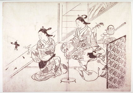 Hasegawa Mitsunobu: Man Applauds as a Woman Uses Her Hands to Project a Shadow Figure on a Wall, from an untitled series of scenes of daily life - Legion of Honor