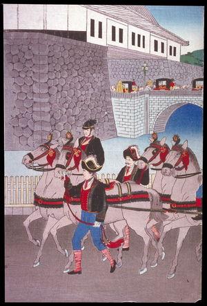 渡辺延一: The Imperial Phoenix Carriage Leaves the Palace for the Military Revew at Aoyama (Nishinomaru tenkyo yori aoyama kampeishiki e hoosha goko no zu), left panel of a triptych - Legion of Honor