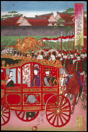 渡辺延一: The Imperial Phoenix Carriage Leaves the Palace for the Military Revew at Aoyama (Nishinomaru tenkyo yori aoyama kampeishiki e hoosha goko no zu), right panel of a triptych - Legion of Honor