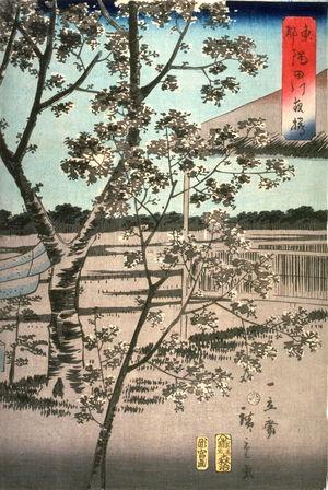 二歌川広重: Cherry Trees at Night by the Sumida River in Tokyo (Toto sumidagawa yozakura) - Legion of Honor
