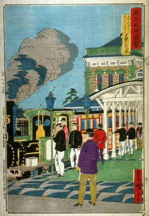 Utagawa Hiroshige III: Steam Train at Shimbashi Station (Shimbashi sutenshon jokisha), from a series Pictures of Famous Places in Tokyo (Tokyo meisho zue) - Legion of Honor