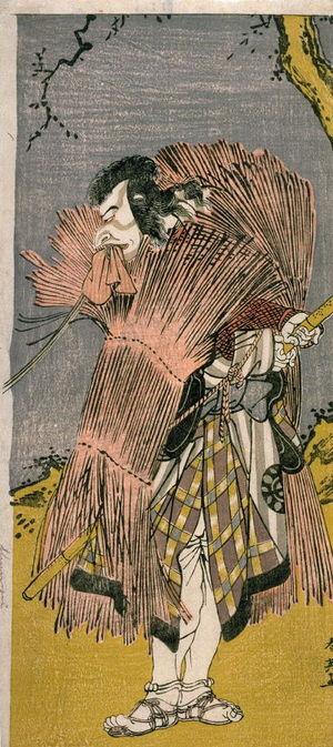 勝川春英: Nakamura Nakaro I as an Outlaw, (possibly Ono no Sadakuro), right panel of a diptych - Legion of Honor