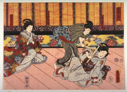 歌川国貞: Actors as Iwafuji, Ohatsu, and Onoein The Blow with the Wooden Sword (Sayauchi (?)) from an untitled series of half-block scenes from kabuki plays - Legion of Honor