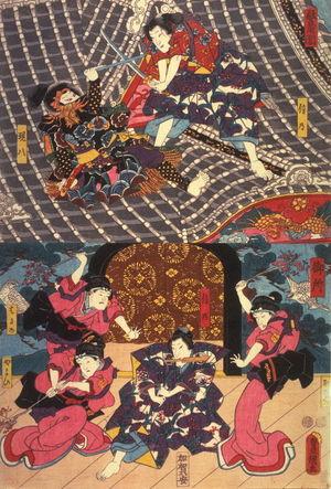 歌川国貞: Actors as Shinno, Gempachi, Kobae(?), Haruno, and Yayoi in scenes from the Horyu Tower and the Palace(Horyukaku, Gosho),from an untitled series of half-block scenes from kabuki plays - Legion of Honor