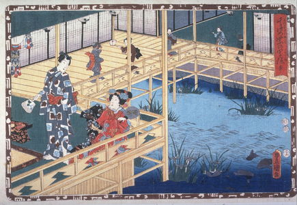 歌川国貞: Genji and lover by a carp pond - Legion of Honor