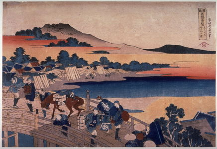 葛飾北斎: Bridge at Fukui in Echizen Province( Echizen fukui no hashi), from the series Unusual Views of Famous Bridges in the Provinces (Shokoku meikyo kiran) - Legion of Honor
