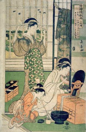 Eishosai Choki: Two Courtesans and a Maid) , right panel from the triptych, Rain after Parting at the Yoshiwara (Seiro kinuginu no ame sammaitsuzuki) - Legion of Honor