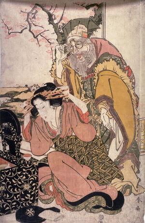 Katsukawa Shunsen: Jurojin Before a Mirror Watching a Geisha Adjust Her hair - Legion of Honor