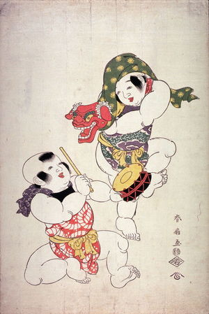 Katsukawa Shunsen: Two Children Performing a Lion Dance with Mask and Drum - Legion of Honor