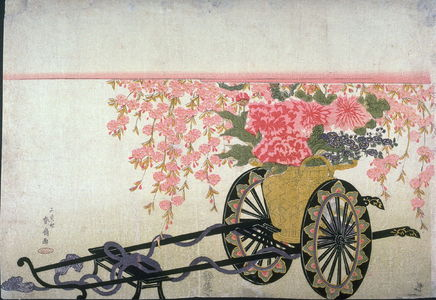 Katsukawa Shunsen: Basket of Flowers on Lacquer Cart - Legion of Honor