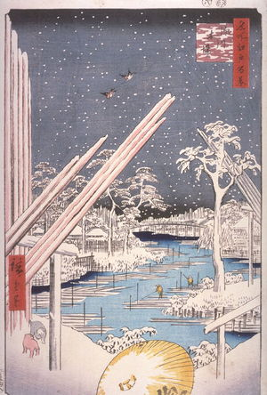 Utagawa Hiroshige: Lumber Yards at Fukagawa (Fukagawa kiba), no. 106 in the series One Hundred Views of Famous Places in Edo (Meisho edo hyakkei) - Legion of Honor