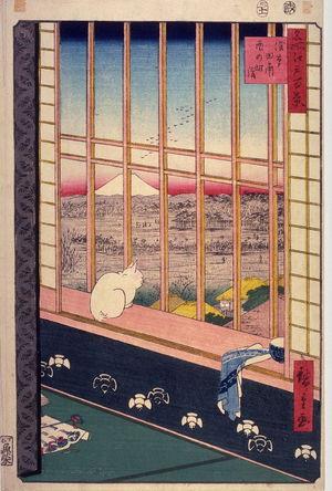 歌川広重: The Bird Festival in the Fields near Asakusa (Asakusa tanbo Torinomachi m?de), no. 101 from the series One Hundred Views of Famous Places in Edo (Meisho Edo hyakkei) - Legion of Honor